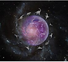 Dinosaurs in Space Photographic Print