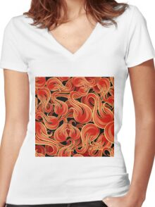 Flame Pattern Women's Fitted V-Neck T-Shirt