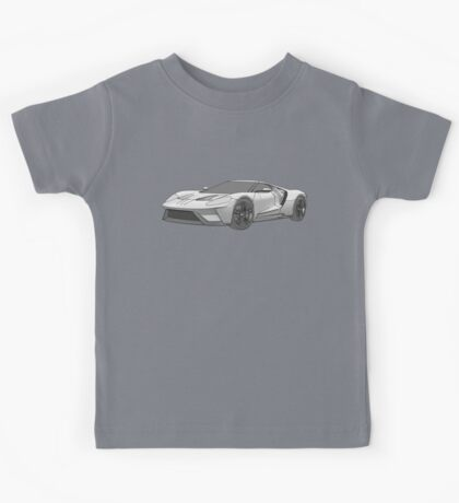 2016 Ford GT, Forza 6 Motorsport Game Cover Car, Black greyscale Fill Kids Tee