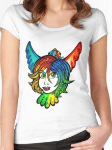 pretty tropical bird girl Women's Fitted Scoop T-Shirt