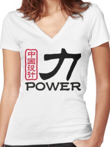 Chinese words: force Women's Fitted V-Neck T-Shirt