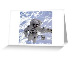 Astronaut Above Earth During Spacewalk Greeting Card