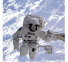 Astronaut Above Earth During Spacewalk Photographic Print