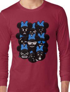 Minnie Emoji's Assortment - Blue Long Sleeve T-Shirt