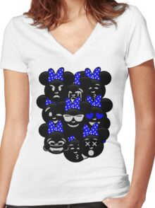 Minnie Emoji's Assortment - Navy Women's Fitted V-Neck T-Shirt