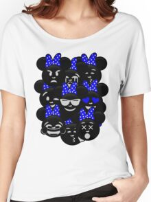 Minnie Emoji's Assortment - Navy Women's Relaxed Fit T-Shirt