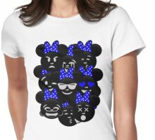 Minnie Emoji's Assortment - Navy Womens Fitted T-Shirt