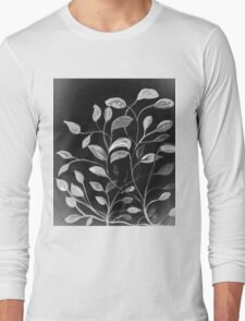 Red and Green Leaves! Monochrome Black and White and Grey Long Sleeve T-Shirt