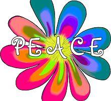 Peace Flower 2- White Lettering by 2HivelysArt
