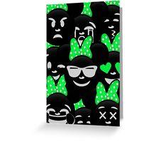 Minnie Emoji's Assortment - Green Greeting Card