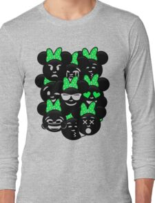Minnie Emoji's Assortment - Green Long Sleeve T-Shirt