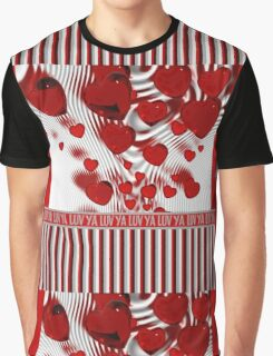 Luv Ya Glossy Candy Red Hearts Silver Swirl Graphic T-Shirt