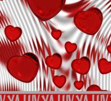 Luv Ya Glossy Candy Red Hearts Silver Swirl Sticker