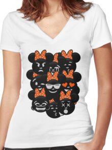 Minnie Emoji's Assortment - Orange Women's Fitted V-Neck T-Shirt
