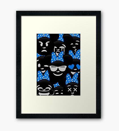 Minnie Emoji's Assortment - Blue Framed Print