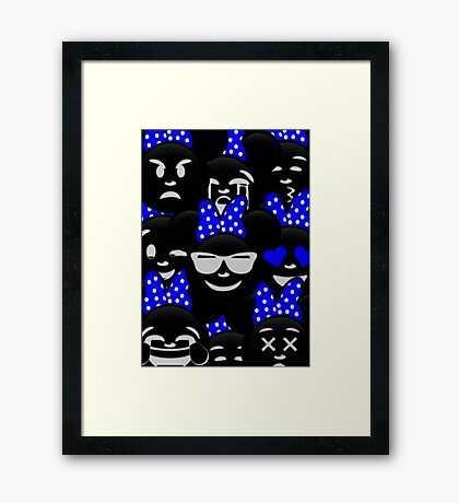 Minnie Emoji's Assortment - Navy Framed Print