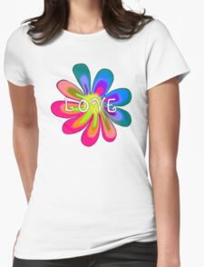 LOVE Flower Womens Fitted T-Shirt