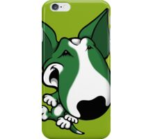 Fun Bull Terrier Cartoon Green & White iPhone Case/Skin