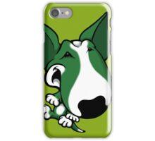 Fun Bull Terrier Cartoon Green & White iPhone Case/Skin