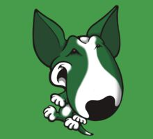 Fun Bull Terrier Cartoon Green & White Kids Tee