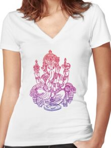Ombre Indian Ganesh Elephant T-shirt Women's Fitted V-Neck T-Shirt