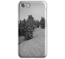 Skiing w/ Snow Covered Trees iPhone Case/Skin
