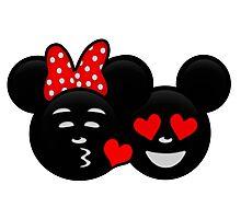 Micky & Minnie Emoji - Kiss  Photographic Print