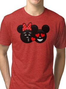 Micky & Minnie Emoji - Kiss  Tri-blend T-Shirt