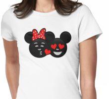 Micky & Minnie Emoji - Kiss  Womens Fitted T-Shirt