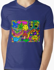 Mardi Gras Collage Mens V-Neck T-Shirt