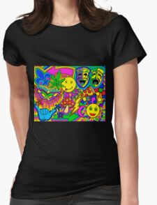 Mardi Gras Collage Womens Fitted T-Shirt