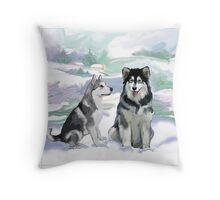 Alaskan Malamutes Throw Pillow