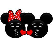 Micky & Minnie Emoji - Sweet Kiss  Photographic Print