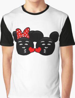 Micky & Minnie Emoji - Sweet Kiss  Graphic T-Shirt