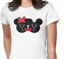 Micky & Minnie Emoji - Sweet Kiss  Womens Fitted T-Shirt