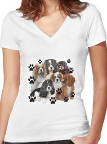 Cavalier Spaniels Grouping Women's Fitted V-Neck T-Shirt