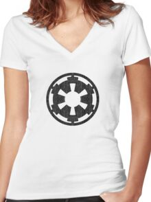 Galactic Empire (black, distressed) Women's Fitted V-Neck T-Shirt