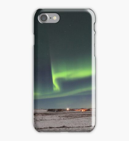 Green lines and waves iPhone Case/Skin