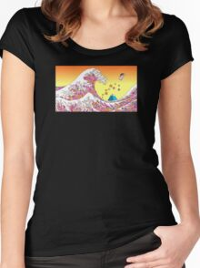 Japenese waves pink Women's Fitted Scoop T-Shirt