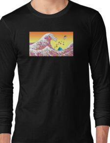 Japenese waves pink Long Sleeve T-Shirt
