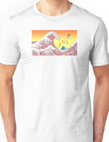 Japenese waves pink Unisex T-Shirt