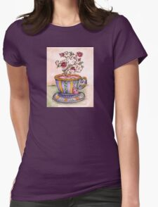 A Cup of Rose Tea Womens Fitted T-Shirt