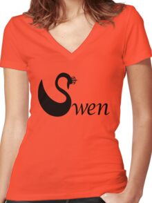 Swen - Swan Queen Women's Fitted V-Neck T-Shirt
