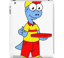 Illustration of a Brontosaurus delivery person. iPad Case/Skin
