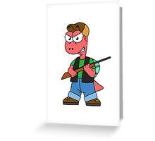 Illustration of a Spinosaurus hunter with gun. Greeting Card