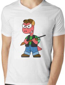 Illustration of a Spinosaurus hunter with gun. Mens V-Neck T-Shirt