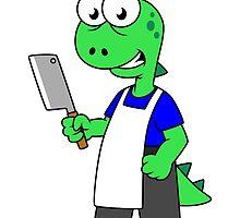 Illustration of a Tyrannosaurus Rex butcher. by StocktrekImages