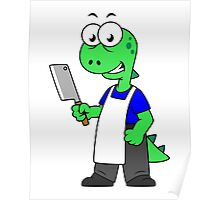 Illustration of a Tyrannosaurus Rex butcher. Poster