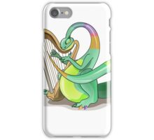 Illustration of a Plateosaurus playing the harp. iPhone Case/Skin