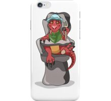 Illustration of a baby Tyrannosaurus Rex sitting in a high chair. iPhone Case/Skin